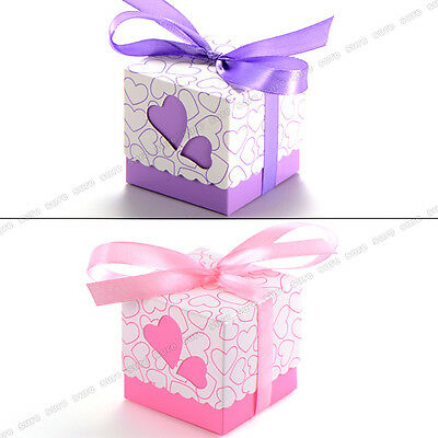 100 Love Heart Candy Boxes Wedding Favor Party Gift Boxes With Ribbons