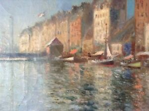 Antique-Oil-Impressionist-painting-by-Pierre-FOREST-early-20th-Century-Seascape