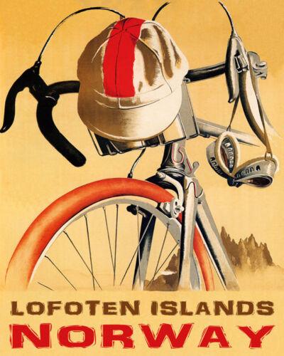 POSTER BICYCLE BIKE RIDE LOFOTEN ISLANDS NORWAY CYCLING VINTAGE REPRO FREE S//H