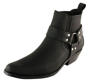 Men-s-Cowboy-Boots-Western-Leather-Ankle-Black-Brown-US-Size-6-7-8-9-10-11-12-13