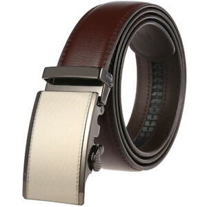 Luxury-Men-039-s-Cow-Leather-Belt-Automatic-Buckle-Strap-Suit-Waistband-Gift-Jeans