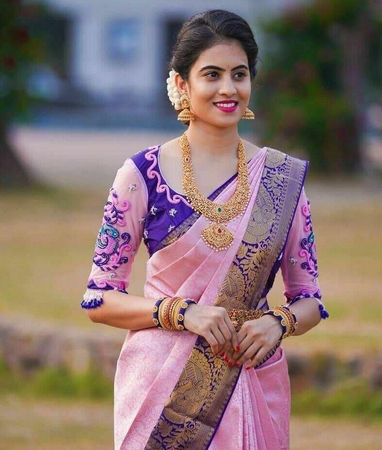Indian wedding Designer formal saree pink soft Silk party wear pakistani sari