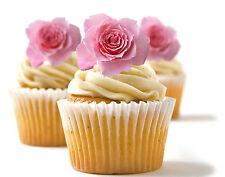 ✿ 24 Edible Rice Paper Cup Cake Toppings, Cake decs - Rose ✿