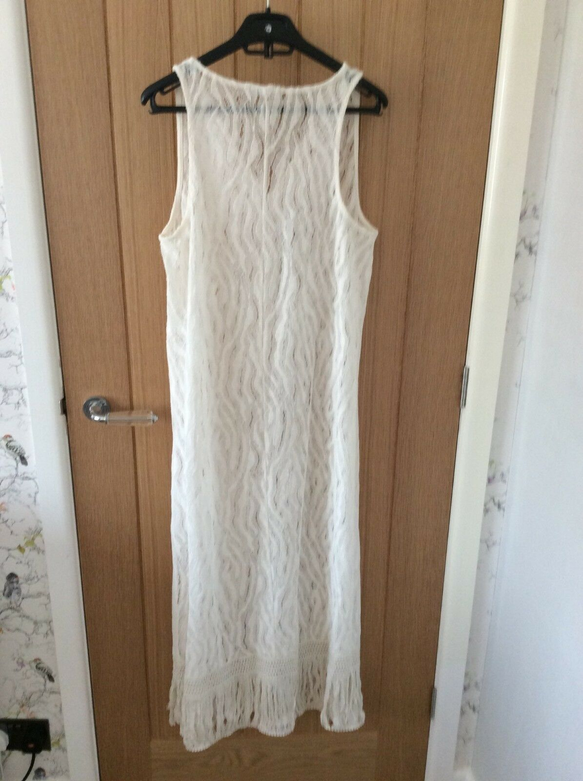 890061a72aab BNWT ZARA Off White Lace Dress with Fringing Size M