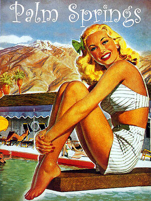 Palm Springs Resort 22x30 Mid-century modern California Art Deco Print