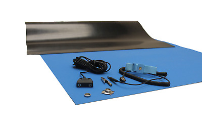 24 X 48 W//GROUND CABLE-BLUE 2LAYER RUBBER ESD ANTI-STATIC HI-TEMP GROUNDING MAT