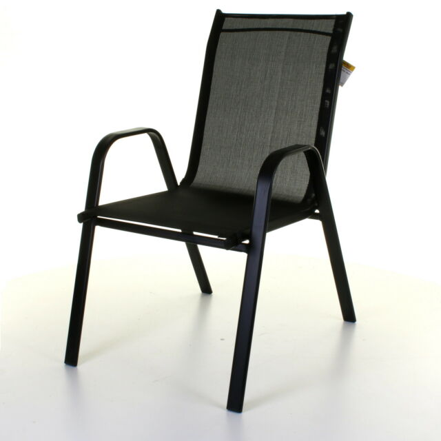 black stacking textoline chairs outdoor garden furniture high back