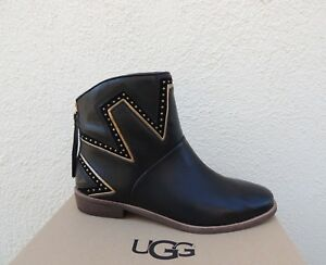 8b2e66e6a38 Details about UGG LARS STUDDED BLACK LEATHER CHELSEA ANKLE BOOTS, WOMEN US  11/ EUR 42 ~NIB
