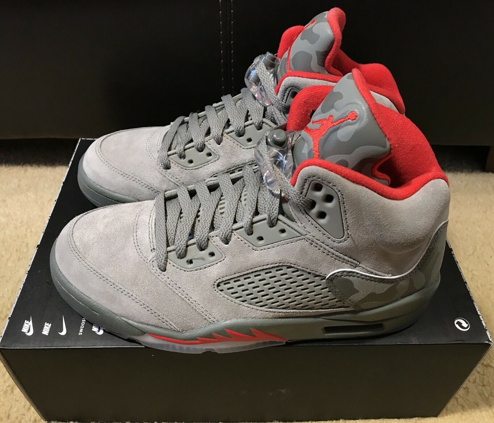 4021ac9e33ebde Nike Air Jordan 5 Retro Reflective Camo Men s sz sz sz 7 Dark Stucco Red  136027 051 17464a
