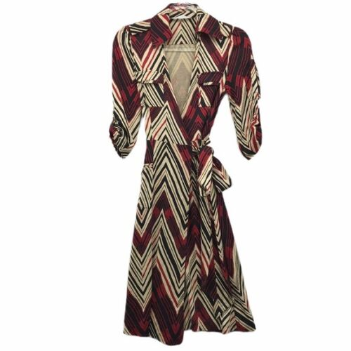 DVF Jersey Wrap Dress Navajo Chevron Sz 0