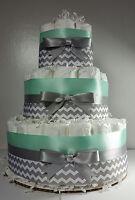 3 Tier Diaper Cake - Mint Silver/White Chevron - Baby Shower Centerpiece