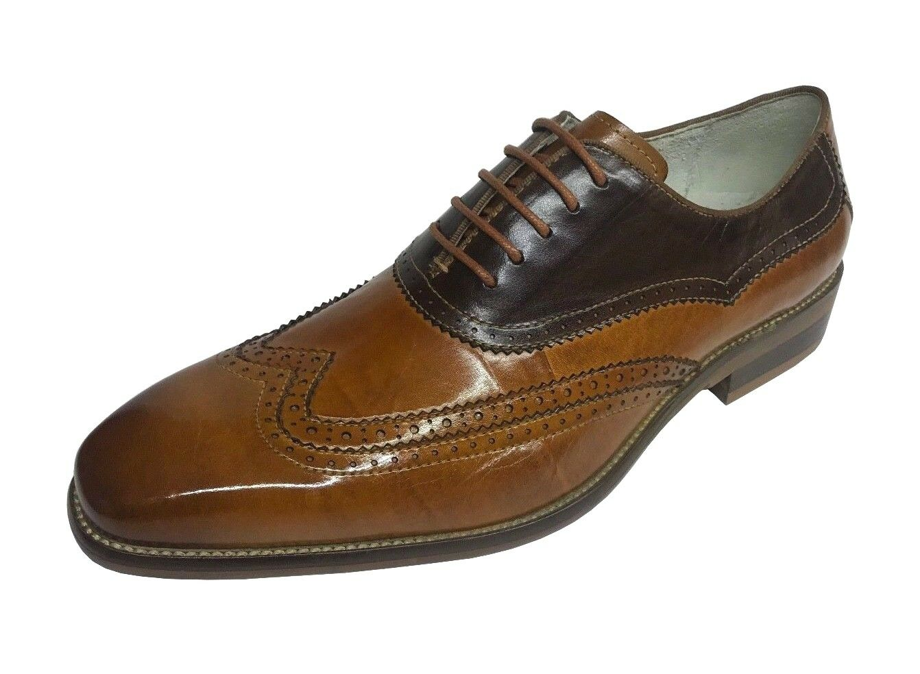 Giovanni Men's Oxford Tan Brown Leather Wing Tip Dress shoes Cyprus