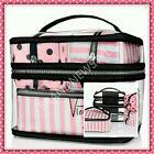 Victoria's Secret Pink/White Stripe Log Train Case 4 PIECES Travel MAKE UP BAG
