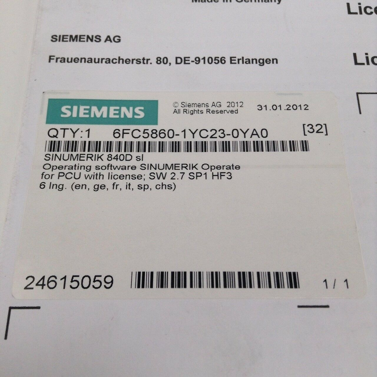 Siemens 6FC5860-1YC23-0YA0 Operating software Sinumerik for PCU New NFP Sealed