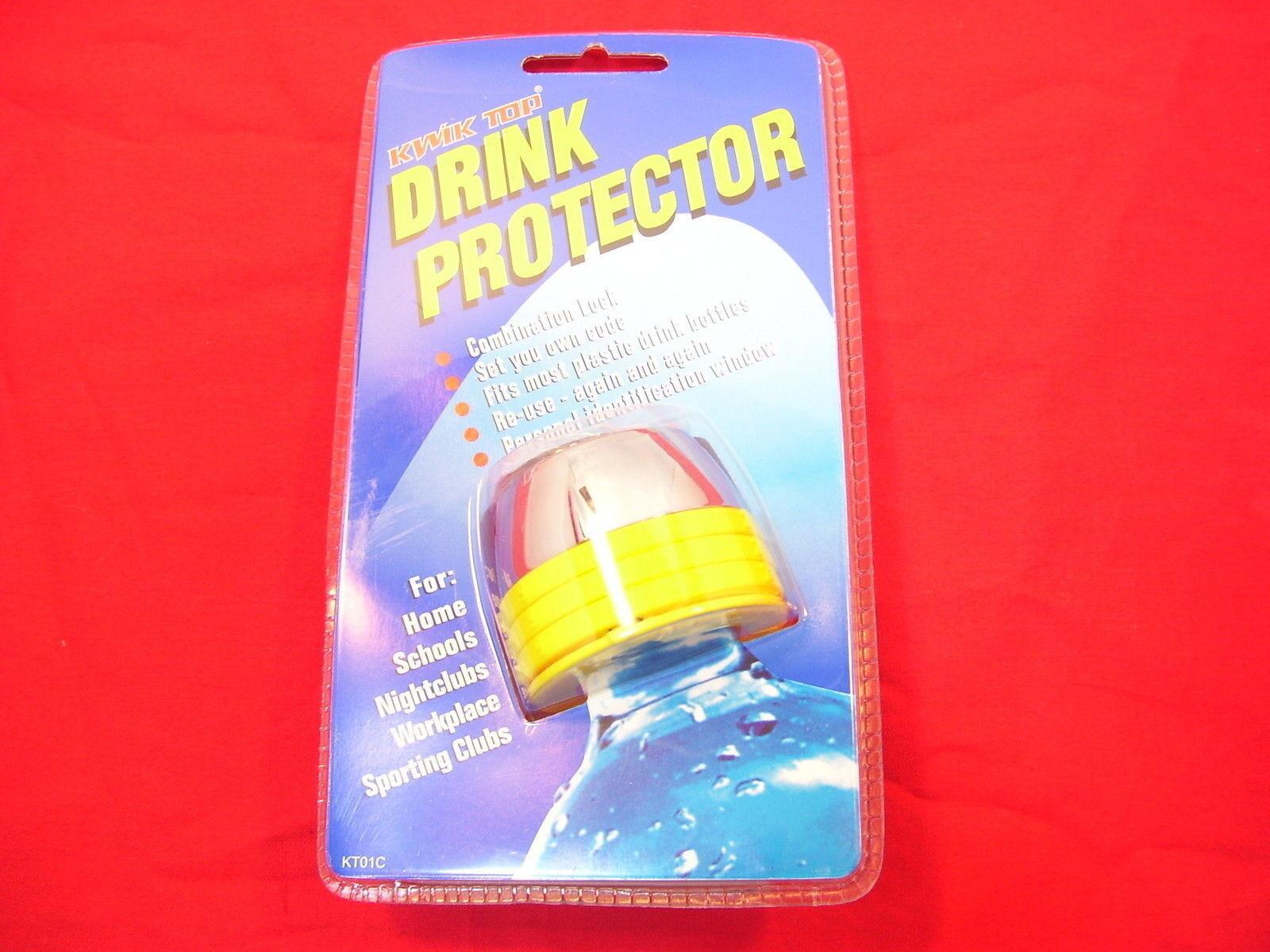 4 x Drink Bottle Lock Protectors Pink Combination Protect Spiking Kwik Top
