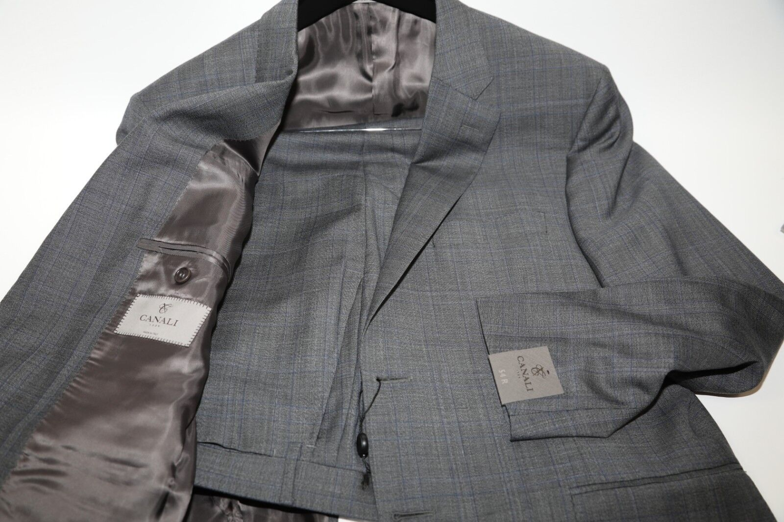 113 CANALI  Nailhead Fabric Two Button Suit Größe 44 R  MSRP1,695
