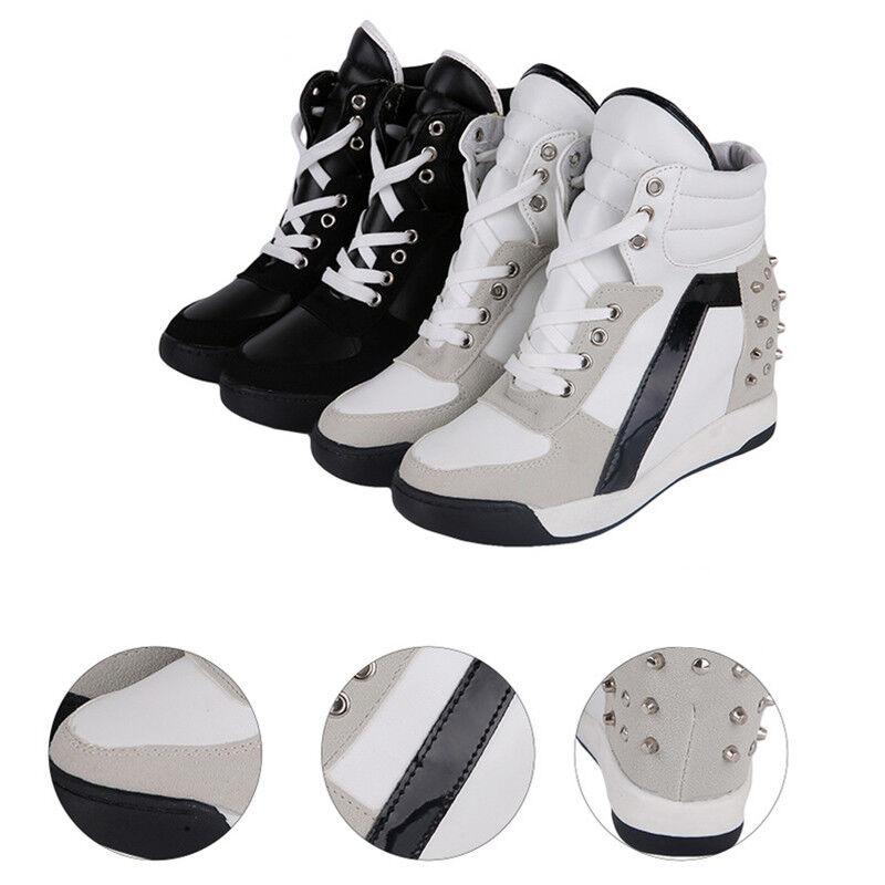 Haut Baskets Talon Plateforme Taille Chaussures de Sport Compensé Dentelle Caché