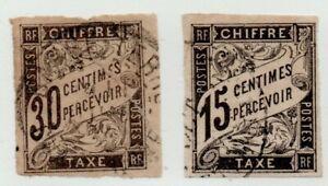 FRANCIA-COLONIE-CHIFFRES-TAXE-A-PERCEVOIR-2-VALORI-USATI