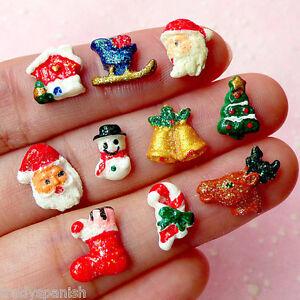 10 X Christmas Candy Cane Santa Snowman 3d Nail Art Cabochons Kawaii