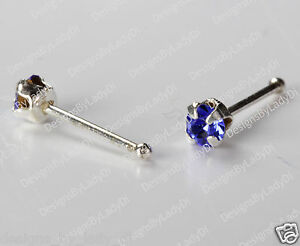 Silver Nose Stud Bone Ring One Tiny 2mm Clear Gem Sterling Body Jewelry 1