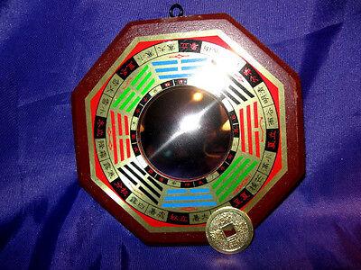 FSH078 PaKua/BaGua/BaGwa Mirror + Gold Coin: Convex 12.5cm