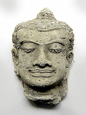 Asian Antiques Other Asian Antiques Orderly 2#beautiful & Rare Antique Head Buddha Stucco From Cambodia Don't Miss
