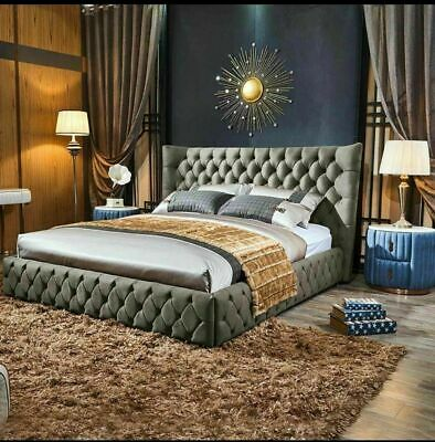 PLUSH VELVET  Upholstered Bed frame modern luxury  bed