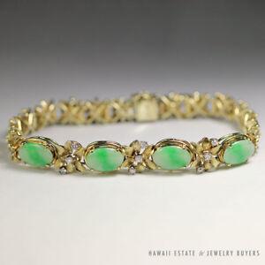 Image Is Loading Vintage Burmese Jadeite Jade Amp Diamond Fl 14k