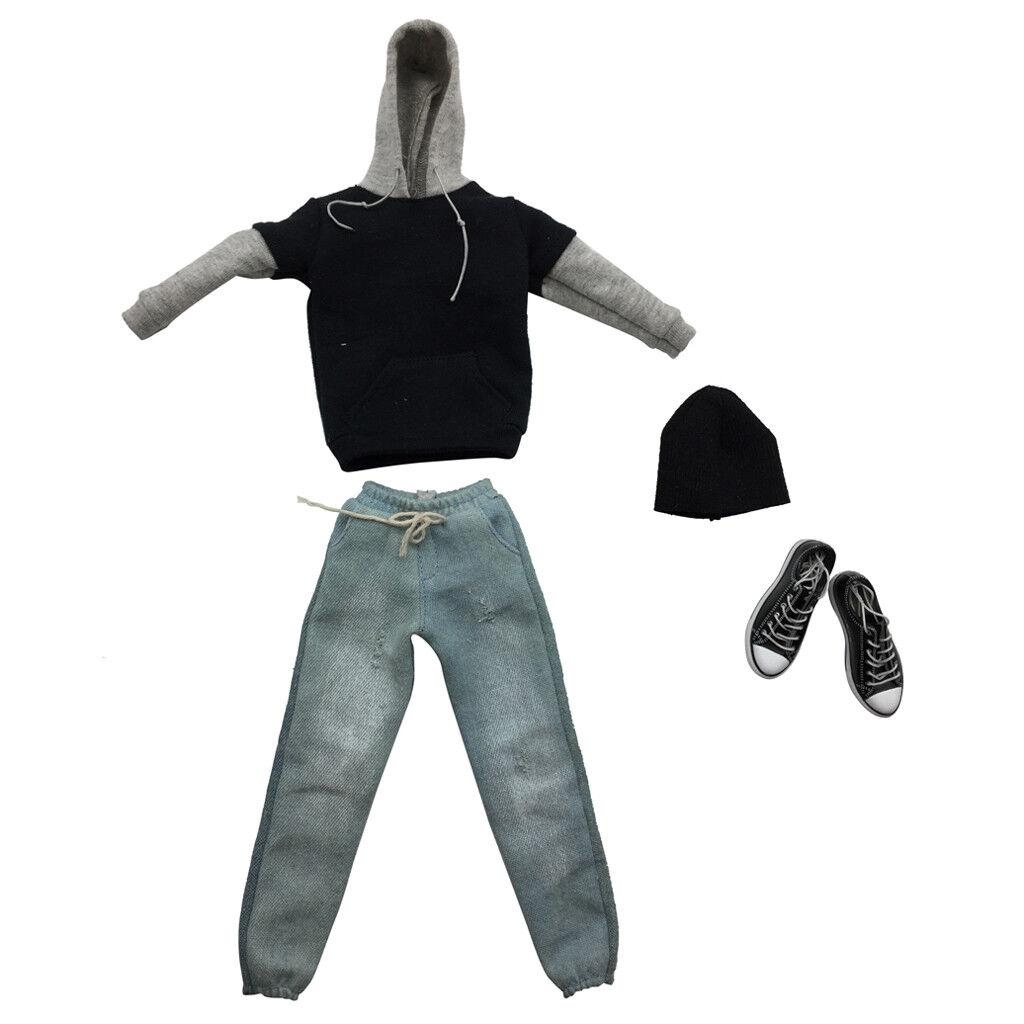 1 6 ropa para hombre negro y gris con capucha Jeans Zapatos Set para 12  Hot Juguetes Figura