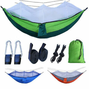 Camping Double Hammock With Mosquito Net Camping Outdoor Hanging Bed Hiking NEW