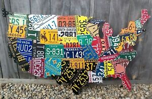 LARGE CUTOUT US LICENSE PLATE MAP- METAL WALL ART ALL 50 STATES ...