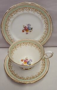 Vintage-Paragon-Fine-Bone-China-Handpainted-Cup-Saucer-amp-Plate-c1952-64-Trio