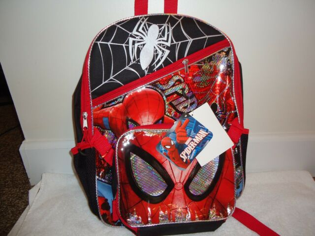a27cfed3c24f Spiderman Backpack Detachable Lunch Bag Marvel Boys 16 Inch Full Size Kids