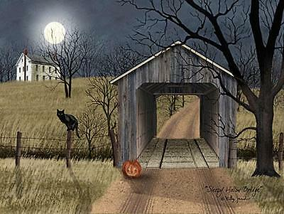 Sleep Hollow Bridge by Billy Jacobs Country Covered Bridge, Cat Print 16x12  | eBay