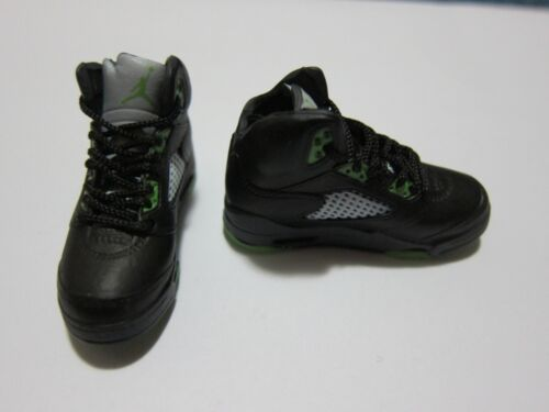 """1//6 Scale Sneakers Shoes Trainers Air AJ5 Green Black for 12/"""" Action figure"""
