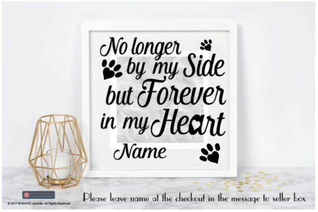 No longer by my side but forever in my heart vinyl sticker for box frame paws