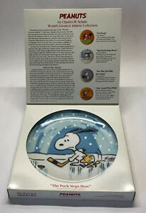 """Peanuts Snoopy Woodstock Hockey Plate """"Puck Stops Here"""" Schmid Vintage Collect"""