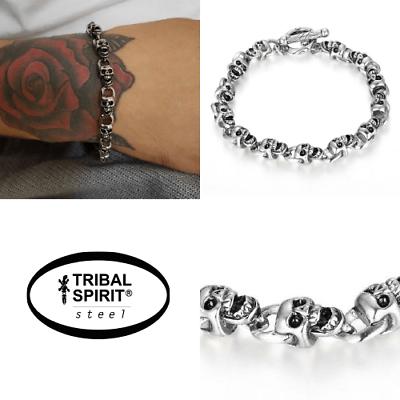 Tribal Spirit Armband Edelstahl 12 Skulls Schädel Totenköpfe Biker Rocker