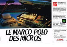 PUBLICITE ADVERTISING  1985   CANON   X07 micro ordinateur ( 2 pages)
