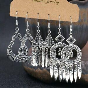 3Pairs-Retro-Boho-Gypsy-Tassel-Silver-Earrings-Set-Ethnic-Drop-Dangle-Women-Gift