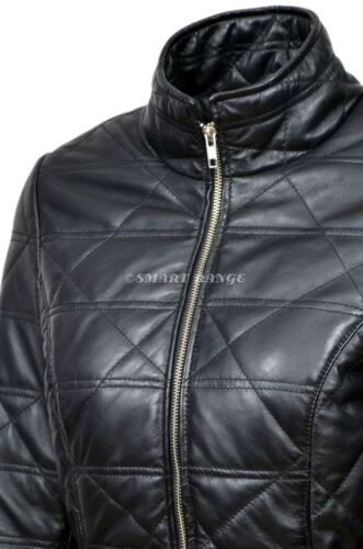 Ladies Leather Jacket Black Smart Fit Quilted 100/% REAL LAMBSKIN JACKET 3328