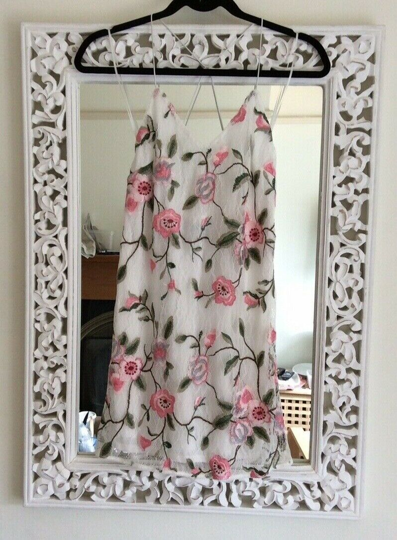 Topshop Ivory and Pink Floral Embroidered Lace Dress, Size Petite New