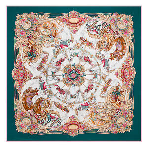 Women-039-s-Twill-Silk-Square-Scarf-with-the-Pattern-of-Merry-go-round-51-034-51-034