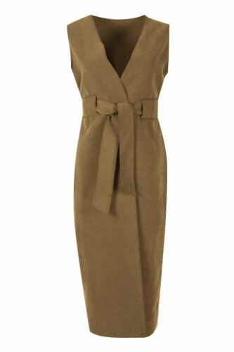 Womens Ladies Italian Blazer Knit Fleece Tie Belted Wrap Over Cape Cardigan Top