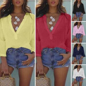 Plus-Size-Women-Long-Sleeve-V-Neck-Tops-Vintage-Holiday-Plain-Blouse-Tee-T-Shirt