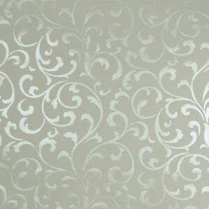 Image Is Loading Light Cream Reflective Silver Embossed Luxury Velvet Wallpaper
