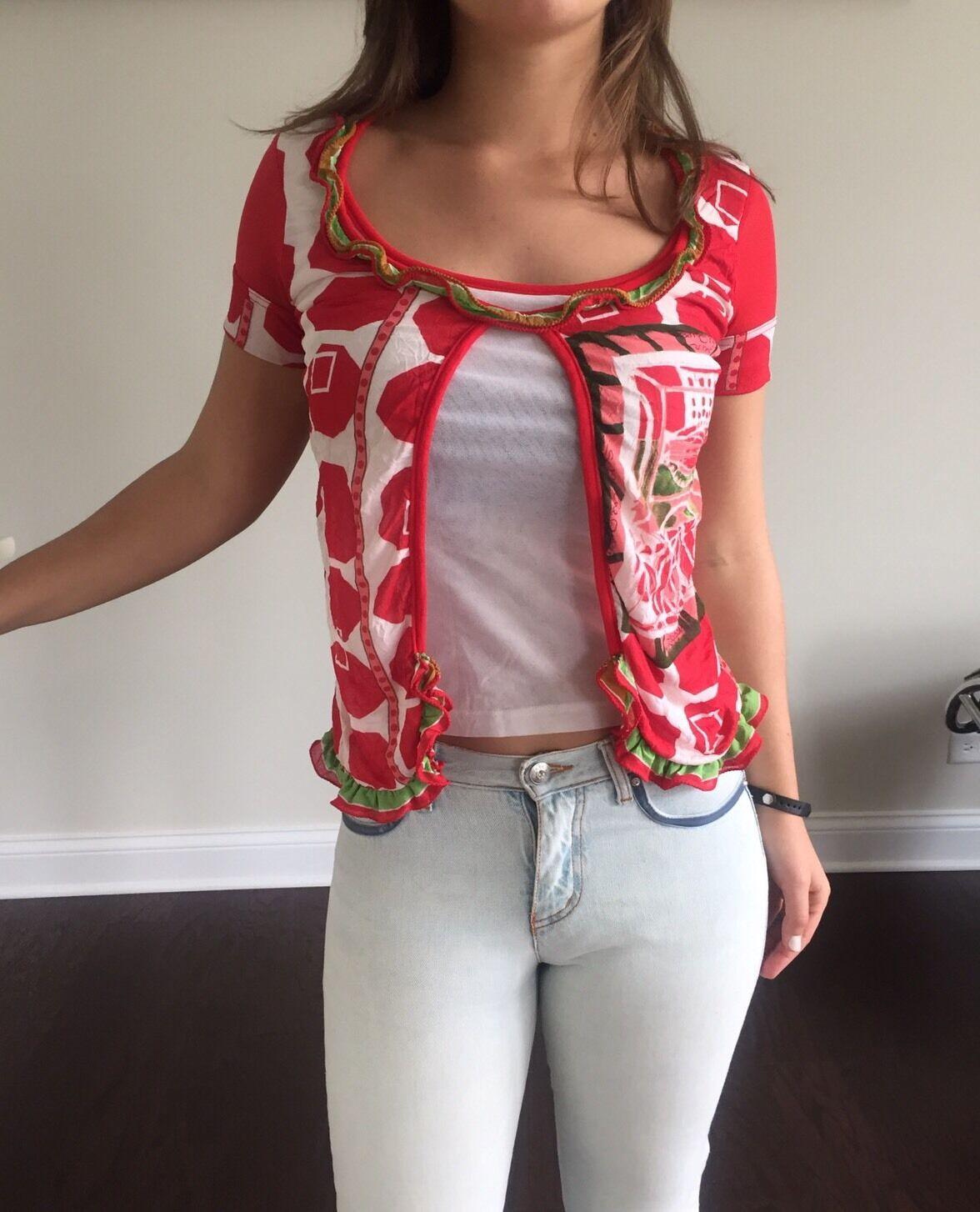 Save The Queen Woherren Top Blouse Short Sleeve MulticolGoldt Polyester Größe S