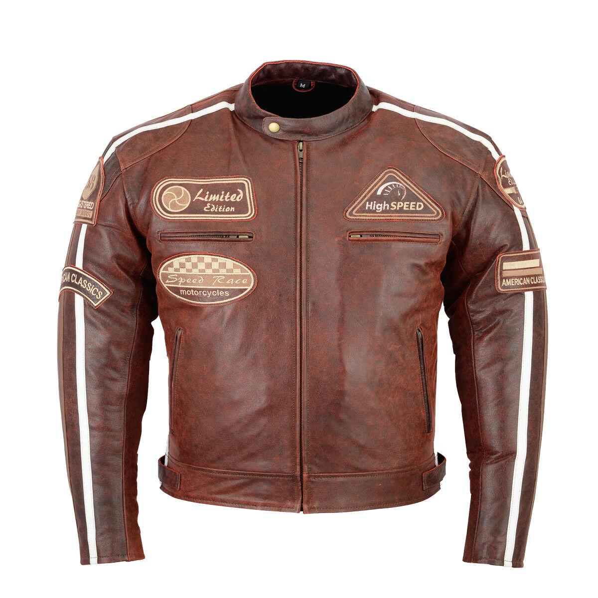 CHOPPER MOTO Retro Chaqueta de cuero,Hombre Motorista la Motocicleta cuero NUEVO