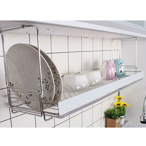 Safety bar dish drying rack drainer dryer suspended shelf for Kitchen drying rack ikea