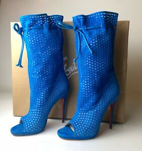 3b5ef38ad74f Image is loading Christian-Louboutin-Jennifer-120-Blue-Perforated-Suede- Boots-